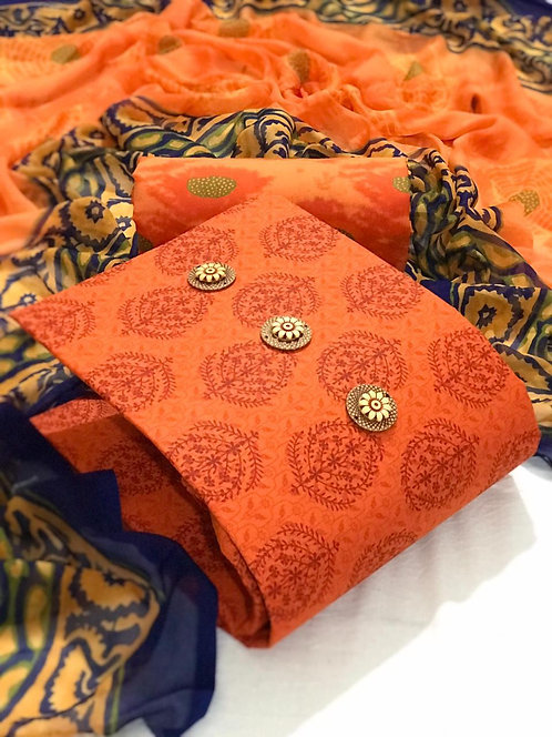 Semi Lawn Cotton Printed  Unstitched Dress Material Suit