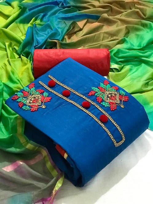 Cotton  Embroidered Hand Work Unstitched Dress Material Suit