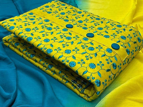Cotton- Slub Embroidered Unstitched Dress Material Suit