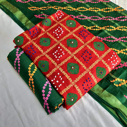 FASDEST® Cotton  Batik Printed Handwork  Unstitched Dress Material Suit
