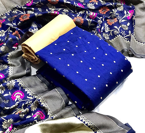 Art Silk Butti Work  Unstitched Dress Material Suit