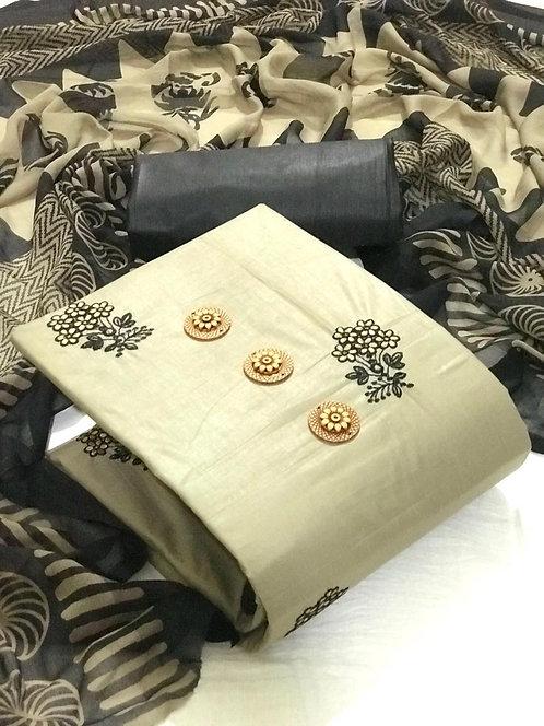 Semi Lawn Cotton Multi work  Unstitched Dress Material Suit