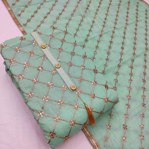 Unstitched Semi Modal Zari Work Dress Material Suit For Women