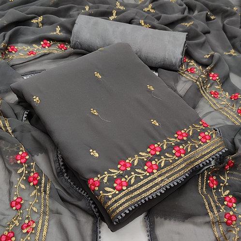 FASDEST® Unstitched Georgette Multi Work Dress Material Suit