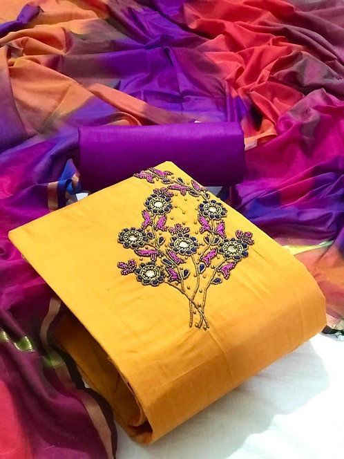 Cotton Slub Embroidered Hand Work Unstitched Dress Material Suit