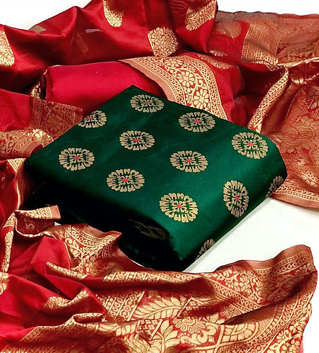 Banarasi Silk Unstitched Dress Material Suit For women