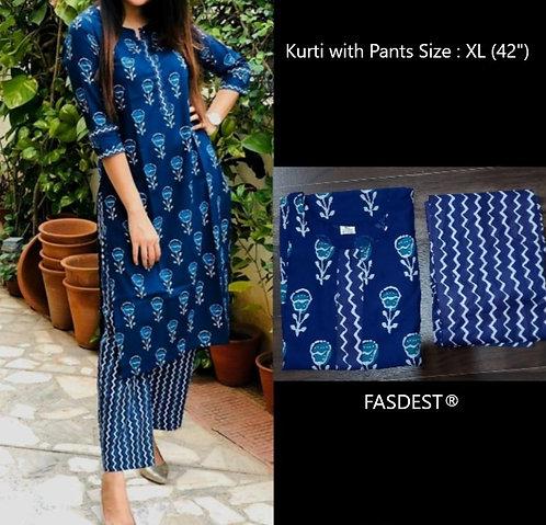 FASDEST® Cotton Kurta Set ( Kurti +Pants)