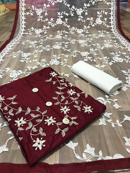Glace Cotton Embroidered Unstitched Dress Material Suit