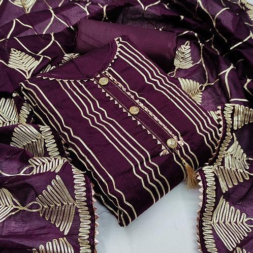 Semi Modal & Chanderi  Gotapatti Work Unstitched Dress Material Suit