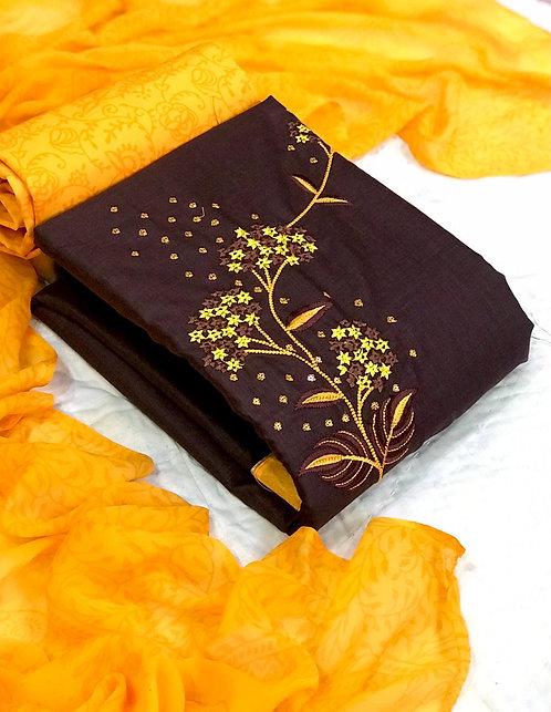 Cotton Slub Embroidered Unstitched Dress Material Suit