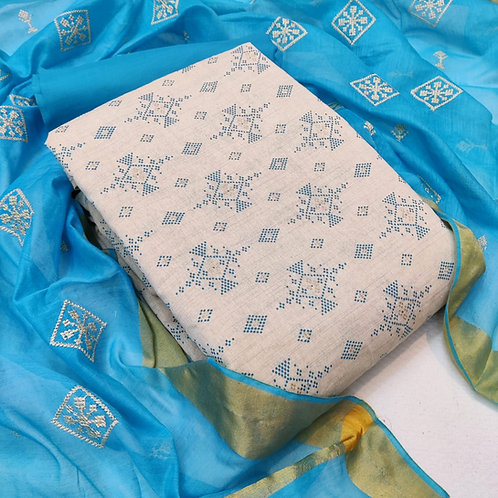 Khadi Cotton Embroidered Unstitched Dress Material Suit For women