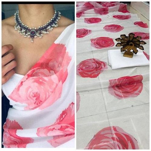 Orgenza Silk Digital Print All over Sari /Saree