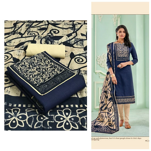 Slub Cotton Printed  Unstitched Dress Material Suit