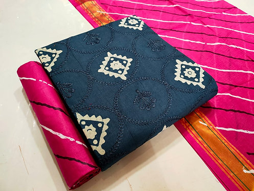Pure Cotton Batik Embroidered Unstitched Dress Material Suit