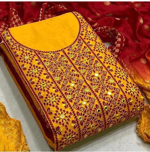 Slub Cotton Embroidered Unstitched Dress Material Suit