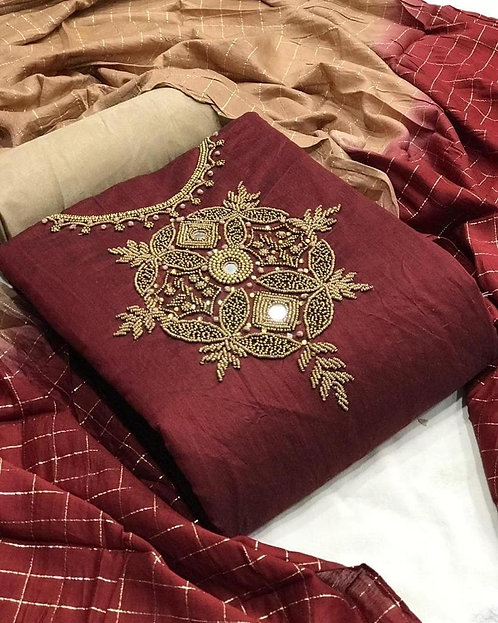 Unstitched Cotton Slub Hand Embroidered Dress Material Suit For Women