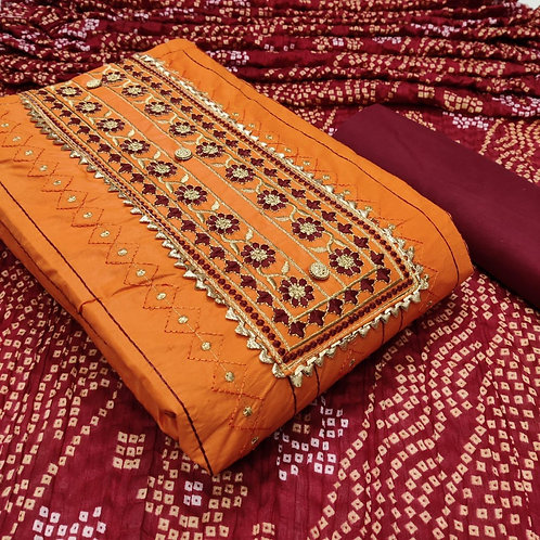 Poly Cotton Embroidered Unstitched Dress Material Suit For women