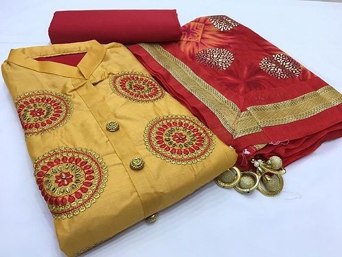Yellow Embroidered , Semi stitched ,