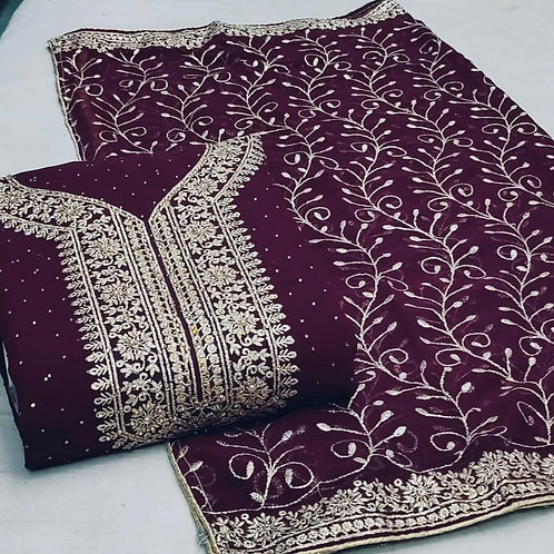 Suit with Georgette Dupatta Unstitched Georgette Stone Work Dress Material Suit For Women