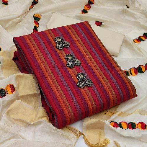 Poly Cotton Stripes  Unstitched Dress Material Suit