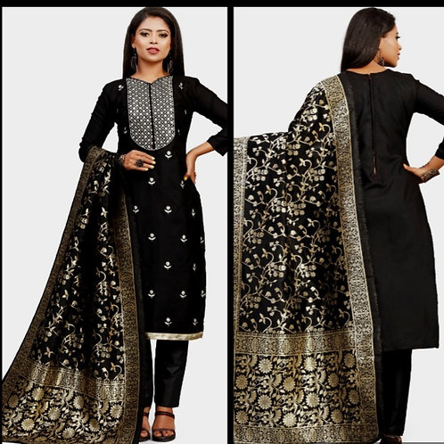 Unstitched Cotton Slub  Embroidered Dress Material Suit For Women