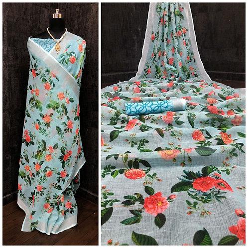 Linen Digital print All over Sari/Saree