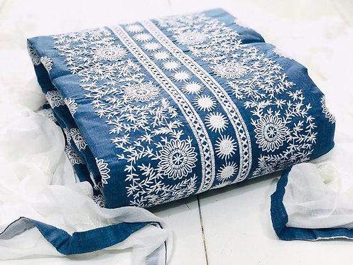 Unstitched Poly Cotton Embroidered Dress Material Suit