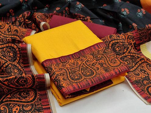 Cotton Slub Digital Printed Unstitched Dress Material Suit