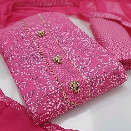 Unstitched Slub Cotton  Dress Material Suit For Women
