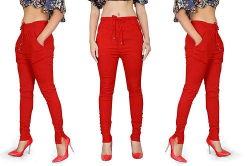 Red Women Cotton Stretchable Slim fit Pants /Kurti Pants