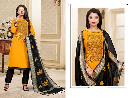 Yellow Unstitched Salwar Suit