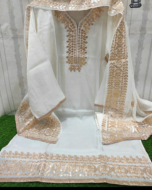 Unstitched  Malai Satin Gota Patti Work Dress Material Suit