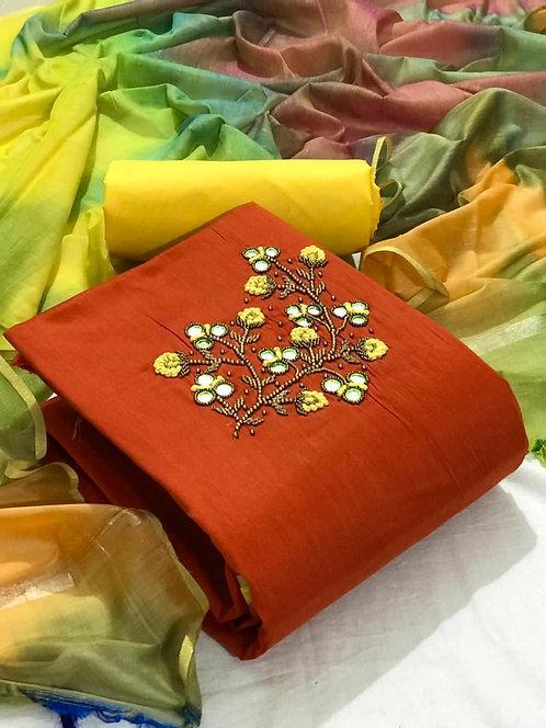 Cotton Slub Embroidered Hand Work Unstitched Dress Material
