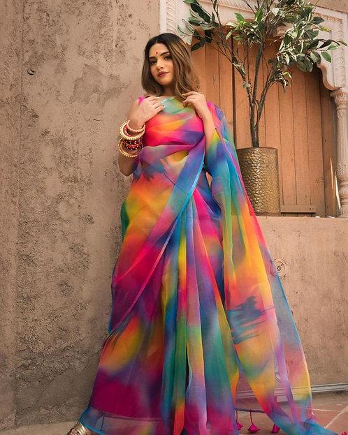 Orgenza Silk Digital Print Multi color All over Sari /Saree