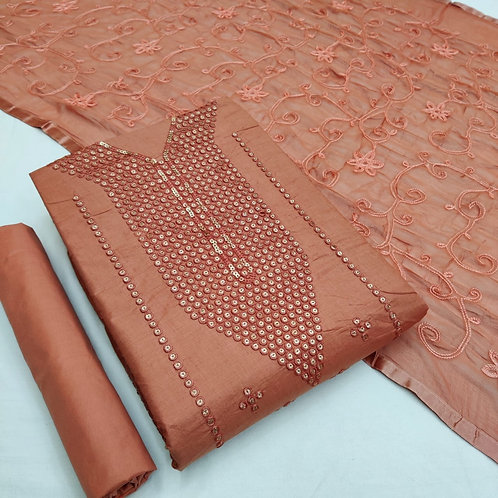 Semi Lawn Cotton Sequined Unstitched Dress Material S