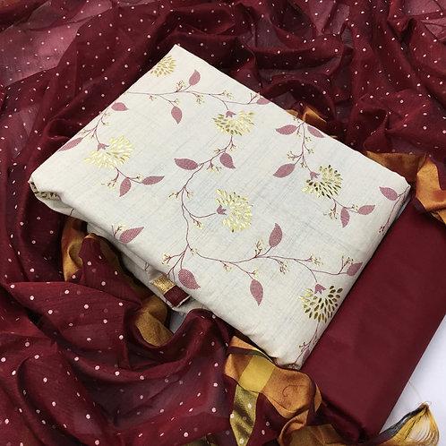 Khadi Cotton Foil Work Unstitched Dress Material Suit
