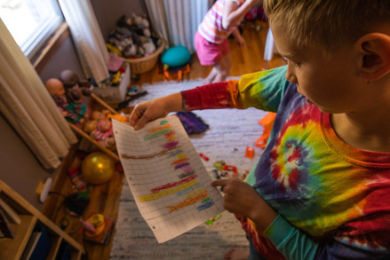 Abner shows his homework assignment given to him by his mother, Coral, where he had to divide and count up all his Halloween candy into a bar graph. Coral says Abner shows strength with math while Eleanor is a quick reader.