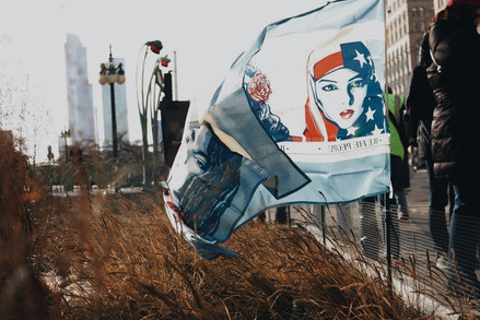 A customized flag for the Women's March flies in a garden at Millenium Park in Chicago while participants make their way to congregate on Jan. 20, 2018.