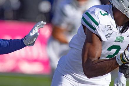 Ohio University's WR Cameron Odom (#3) narrowly avoids an attempted tackle from University at Buffalo in the second quarter at UB Stadium in Amherst, NY, on Oct. 5, 2019.