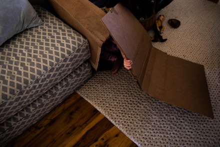 Eleanor hides in a box while avoiding her daily homeschool lesson by her parents in her home in Albany, Ohio.