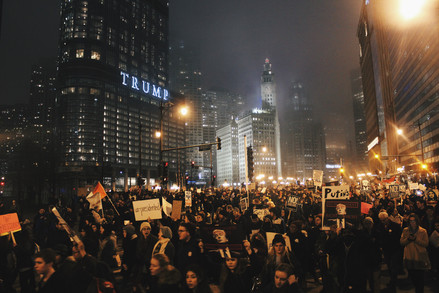 A swarm of protestors circle Trump International Hotel and Tower in Chicago on President Trump's inauguration day of Jan. 20, 2017.