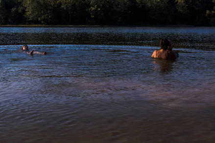 Swimmers take advantage of the cool Lake Snowden waters in Albany, Ohio, during a humid September day on Friday, Sept. 13, 2019.