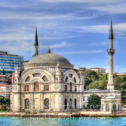 Dolmabahce mosque from Bosphorus River - Web