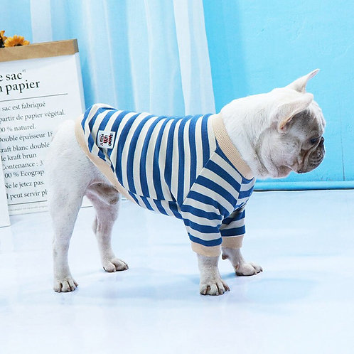 Striped Pet Clothes Pug Clothing