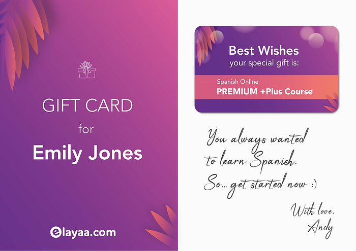 Give a Spanish Course Gift Card Example