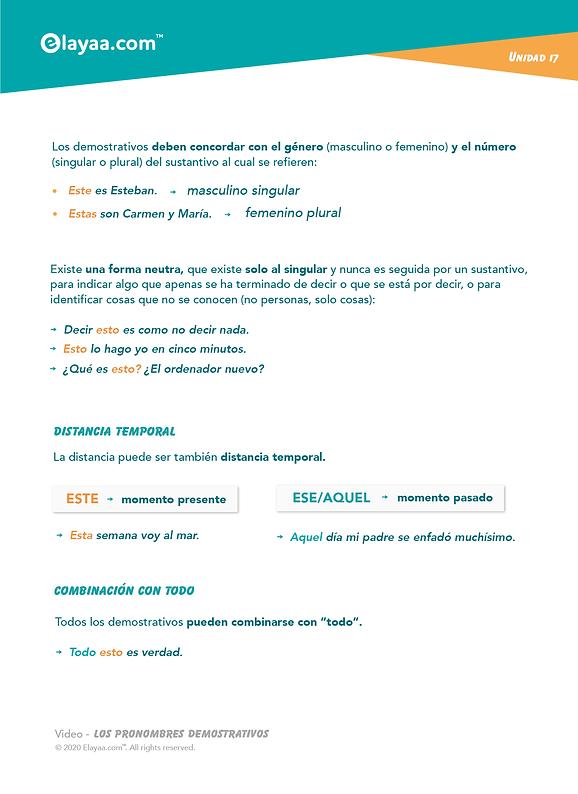 Elayaa.com - Dimostrativi in Spagnolo Pa