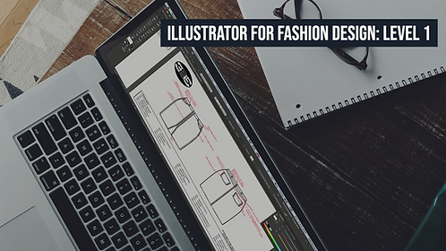 Computer showing a fashion tech pack; Adobe Illustrator for Fashion Design: Level 1 course