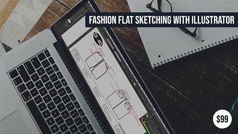 Fashion flat sketch on a fashion tech pack in illustrator