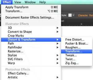 Illustrator Effect-Transform menu