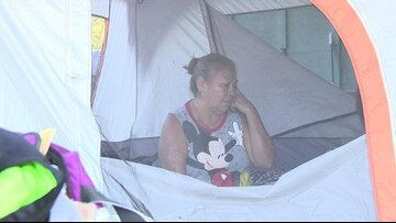 Three months after Harvey, family living in a tent outside their flooded home